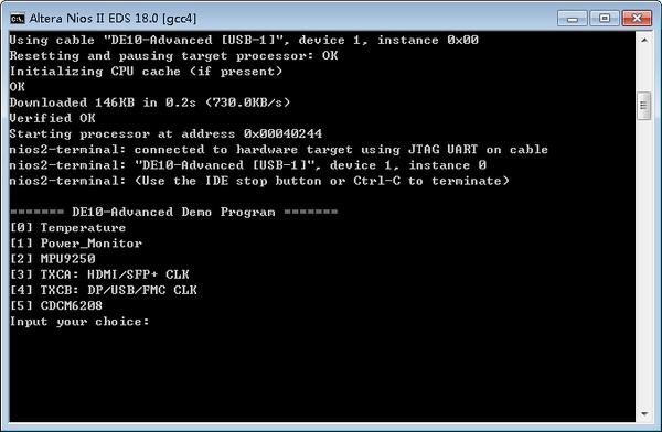 DE10 Advance revC demo: Nios II control for Programmable PLL